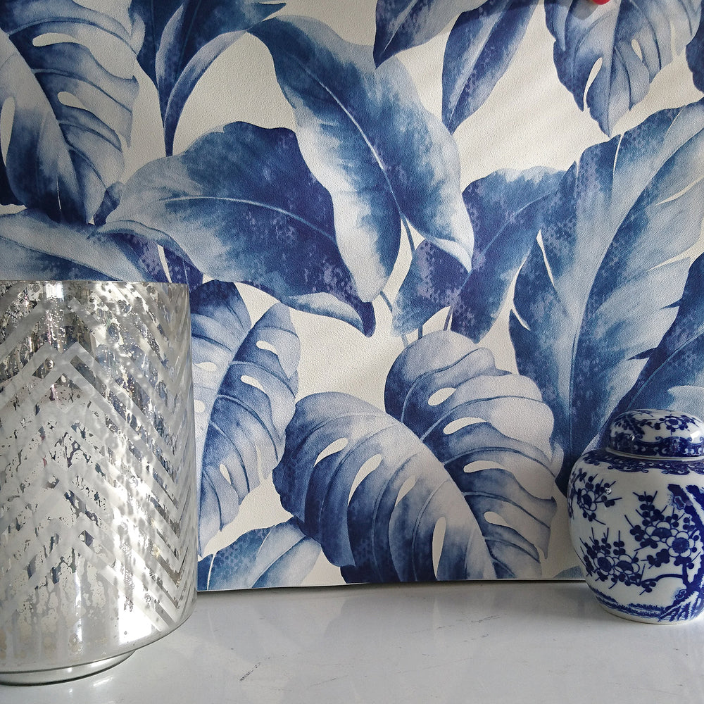 'Banana Leaf' Tree Design Wallpaper | Blue & Navy Tones