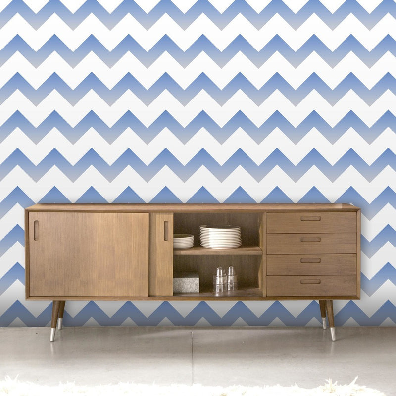 Ziggy |Geometric Ombre Zig Zag Wallpaper in Blue, Grey & White - Your 4 Walls