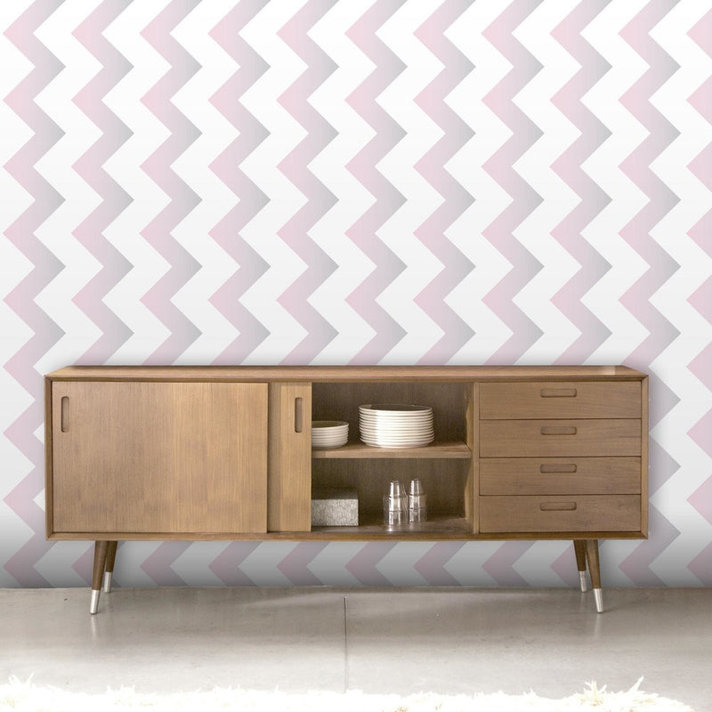 Ziggy | Geometric Ombre Zig Zag Wallpaper in Dusky Pink, Grey & White - Your 4 Walls