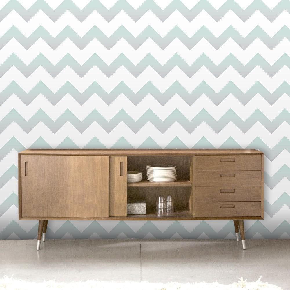 Ziggy |Geometric Ombre Zig Zag Wallpaper in Mint Green, Grey & White