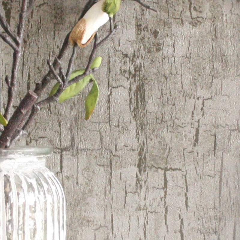 Tree Bark Effect Wallpaper | Pewter Brown & Metallics - Your 4 Walls
