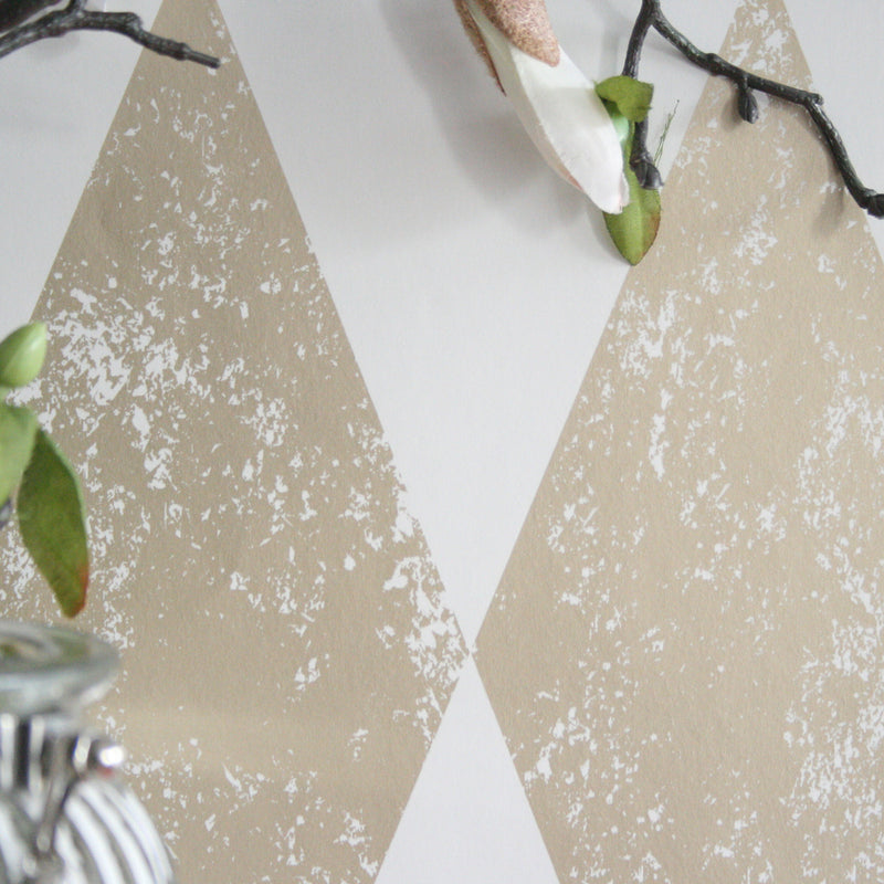 Tortola Geometric Designer Wallpaper Clarke and Clarke | Off White & Gold - Your 4 Walls