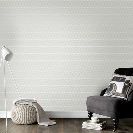 Triangolin' Geometric wallpaper in Grey & White