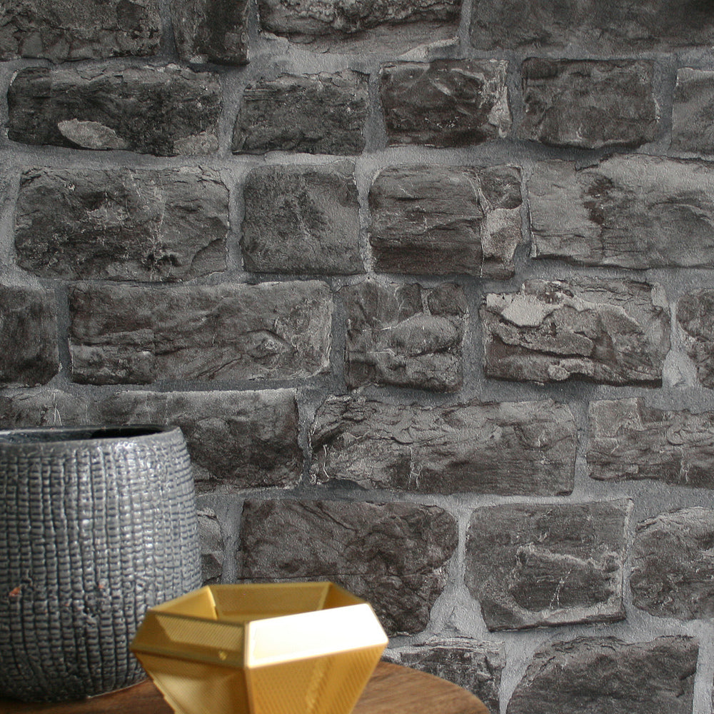 Reclaimed Stone Brick Wallpaper In Charcoal Grey