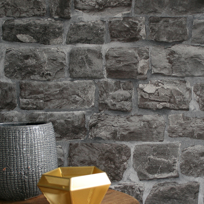 Reclaimed Old Stone | Wallpaper in Charcoal, Grey & Black