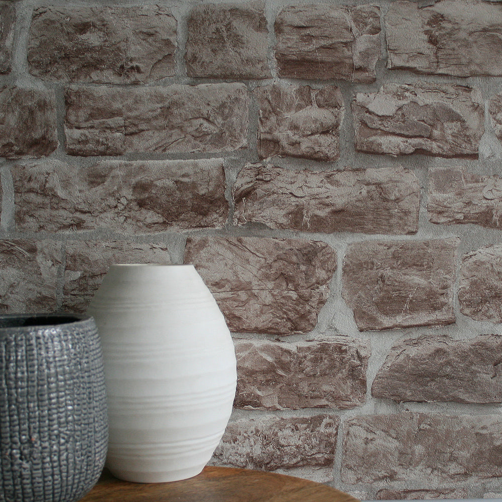 Reclaimed Stone Brick | Wallpaper in Beige & Stone