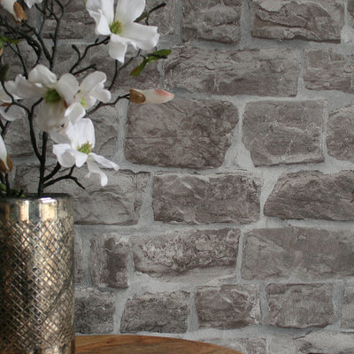 Reclaimed Stone Brick | Wallpaper in Grey & Stone - Your 4 Walls