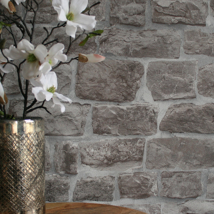 Reclaimed Stone Brick | Wallpaper in Grey & Stone