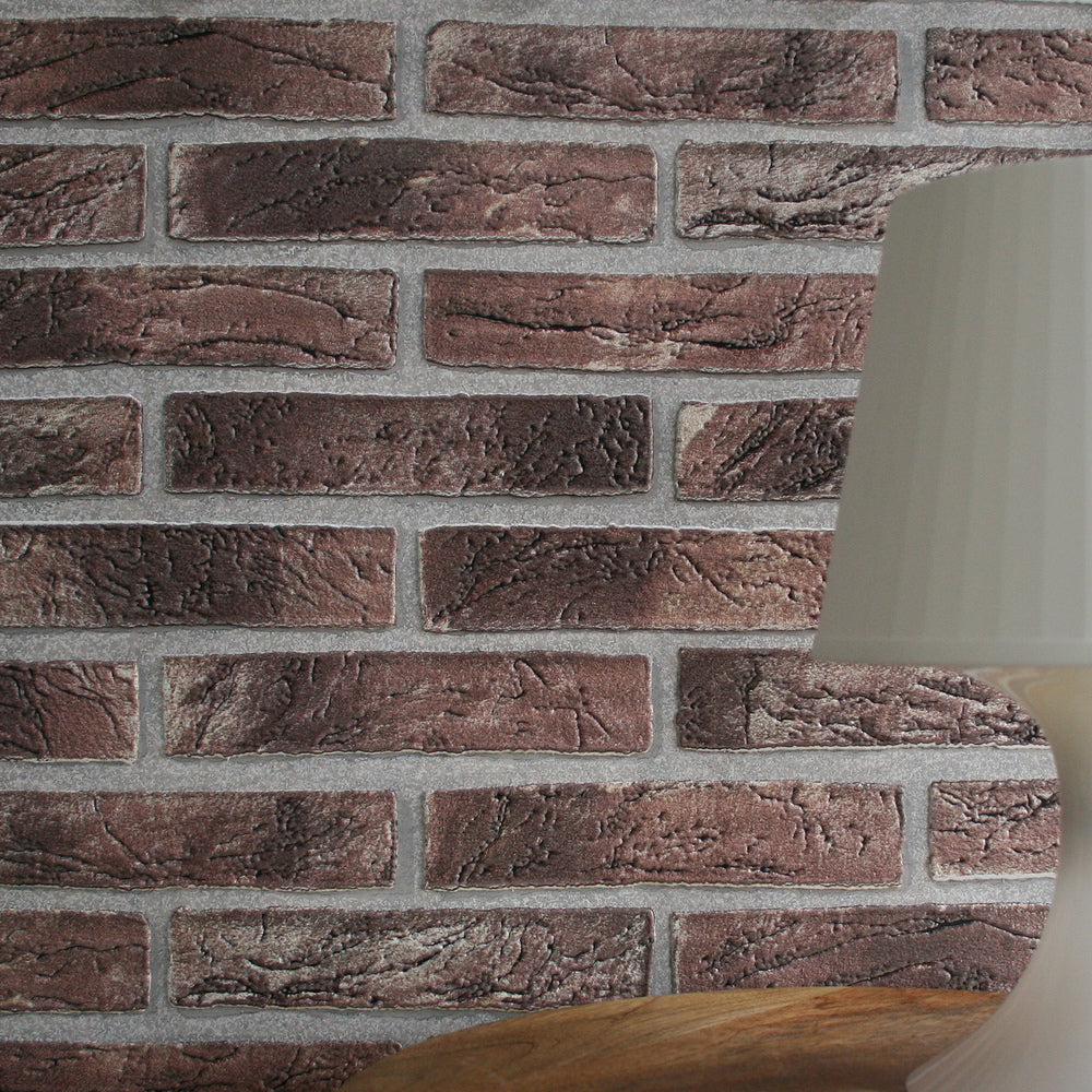 Extra Embossed Brick Wallpaper  This product is an extra embossed superb 3D brick wallpaper that wont break the bank! This lovely, house brick design wallpaper could look great on any wall, and looks and feels great! This wallpaper is strong and washable product, so dont worry about it being in a high activity area! h:10.05m x w:53cmPattern Repeat 64cm