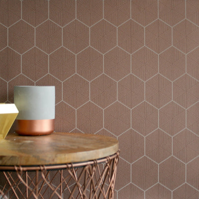LAST ROLL Hexagon | Geometric Striped Wallpaper in Copper - Your 4 Walls