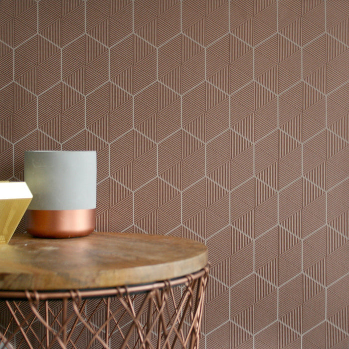 Hexagon | Geometric Striped Wallpaper in Copper - Your 4 Walls