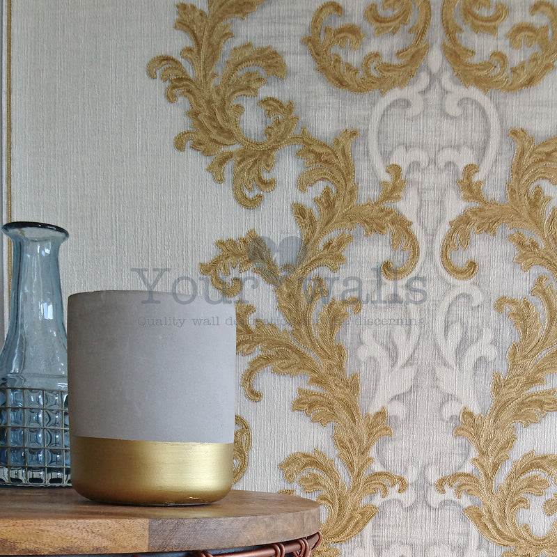 Versace Calligraphy | Designer Floral Trail & Stripe Wallpaper in White & Gold
