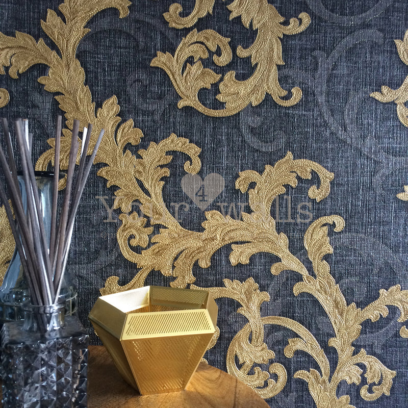 Versace Calligraphy | Designer Floral Trail Wallpaper in Charcoal Grey & Gold