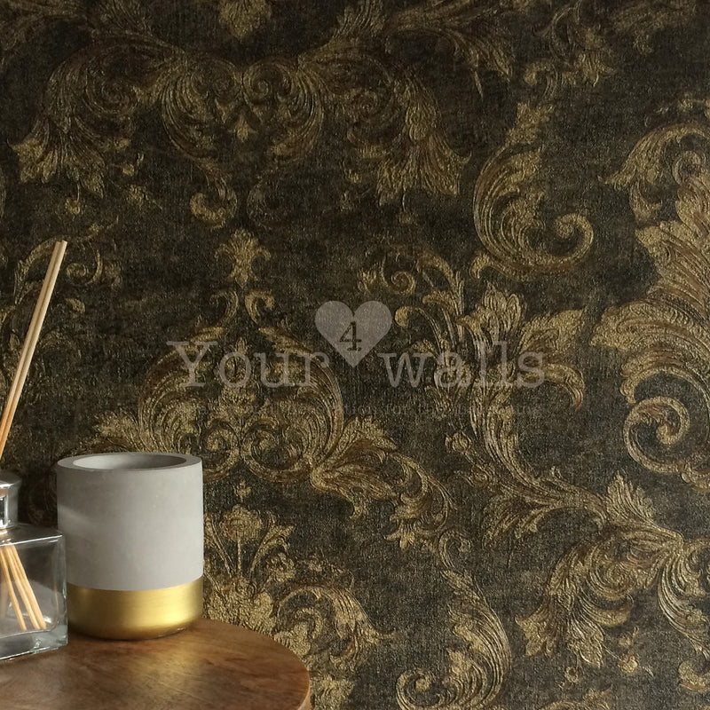 Versace Noble Damask | Designer Damask Wallpaper in Charcoal Grey & Gold Tones