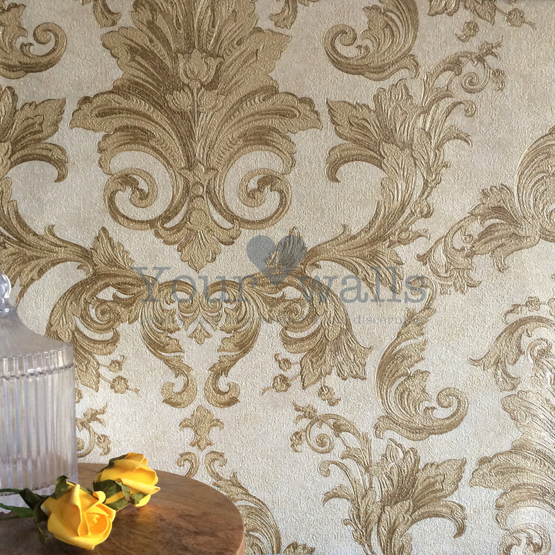 Versace Noble Damask | Designer Damask Wallpaper in Cream & Gold Tones