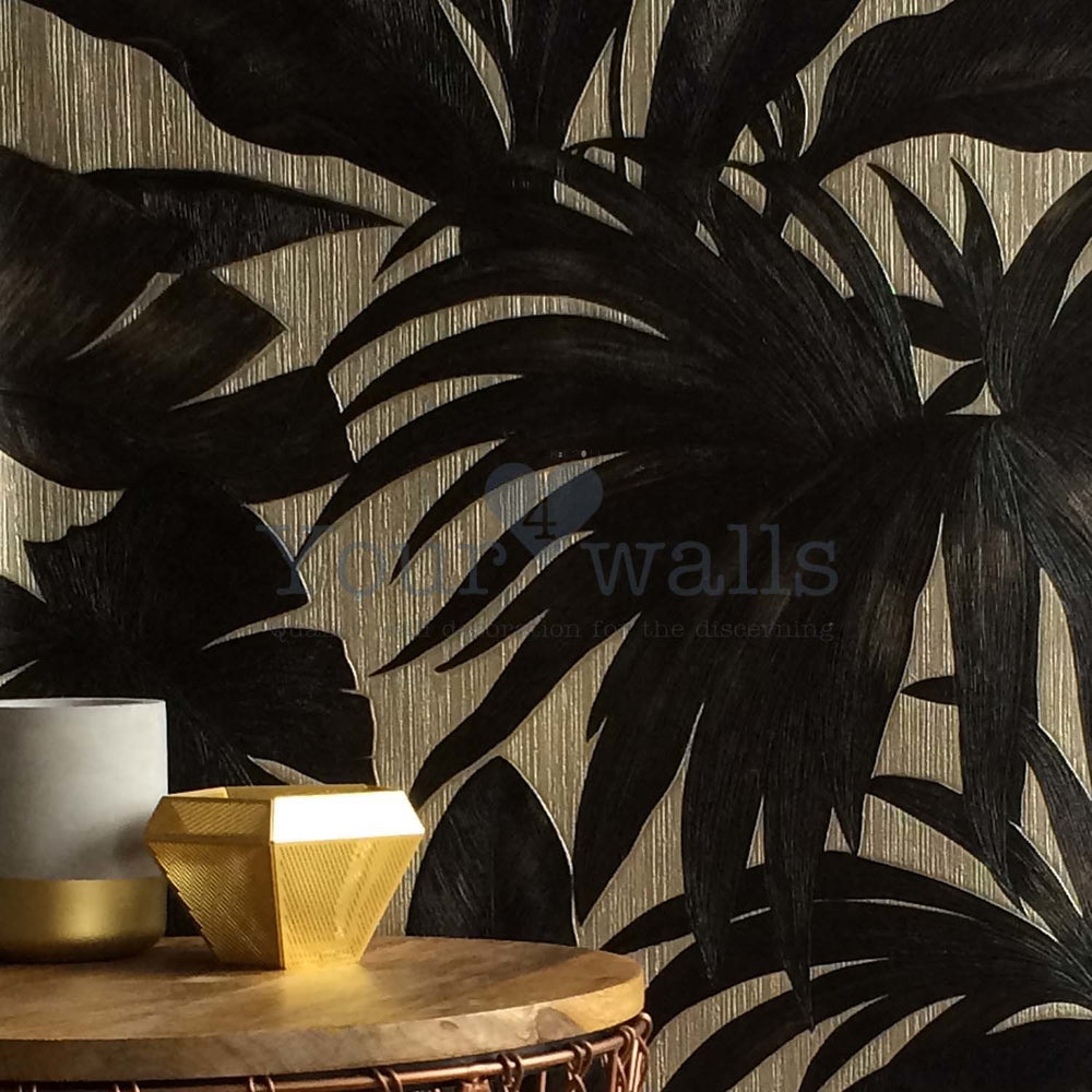 Versace 'Palm Leaf' Designer Leaf/Tree Wallpaper | Black & Gold