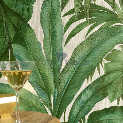 Versace 'Palm Leaf' Designer Leaf/Tree Wallpaper  | Green & Pearl White