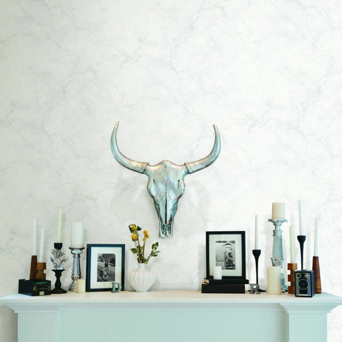 Marble Effect Wallpaper in Light Grey & White For the trend conscious amongst us marbled effects are where it is at this season, but the look can be difficult to achieve on a wall - until now. This bang on trend combination of light grey and white creates real subtle effect! This is a flat wallpaper and looks so realistic!  L:10m x W:52cmPattern Repeat: 53cmThis is a washable wallpaper and is a paste the wall product