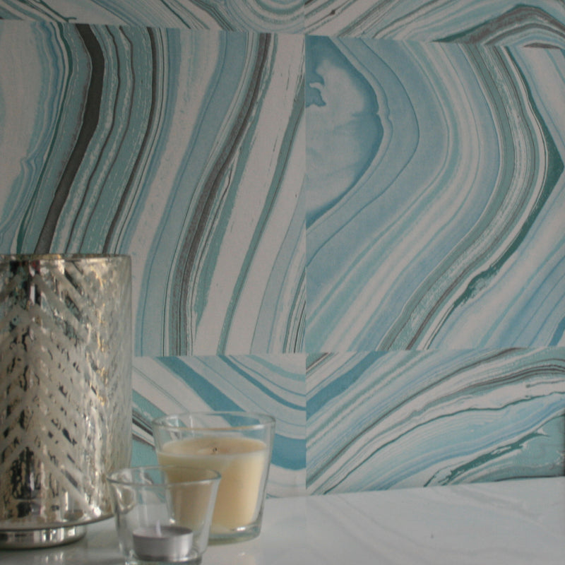 Agate Tile Effect Wallpaper in Turquoise, Blue and Grey - Your 4 Walls