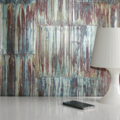Rusted Metallic Corrugated Panel Effect Wallpaper | Brown and Metallic Blue Grey - Your 4 Walls
