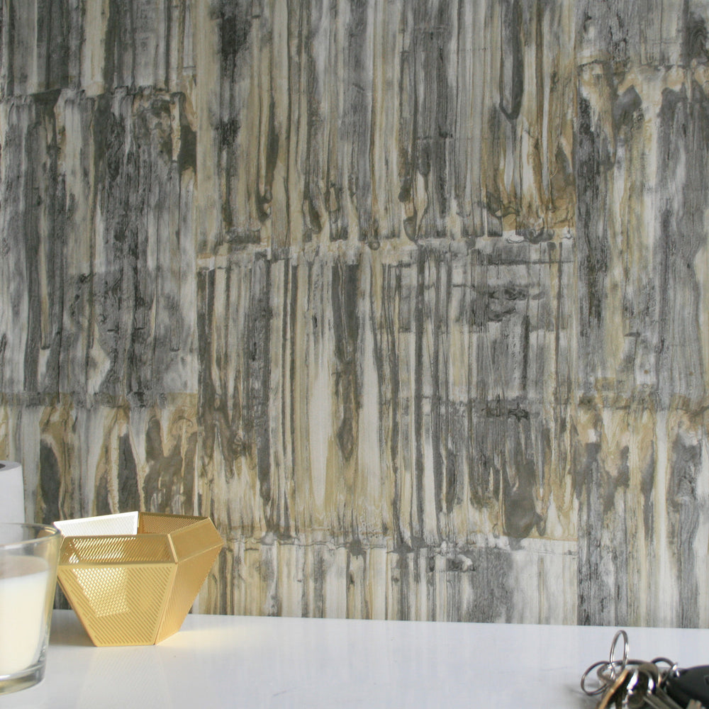 Rusted Metallic Corrugated Panel Effect Wallpaper | Yellow and Metallic Silver Grey & Charcoal - Your 4 Walls