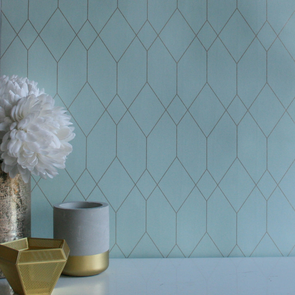 Polygon | Geometric Designer Wallpaper in Mint Green & Gold - Your 4 Walls