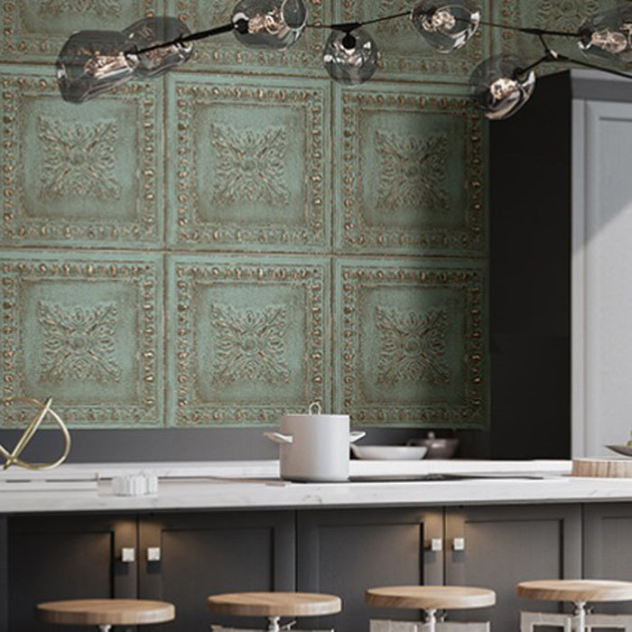 Powder coated tin tile effect wallpaper aqua green metallic copper your 4 walls - American tin tiles wallpaper ...