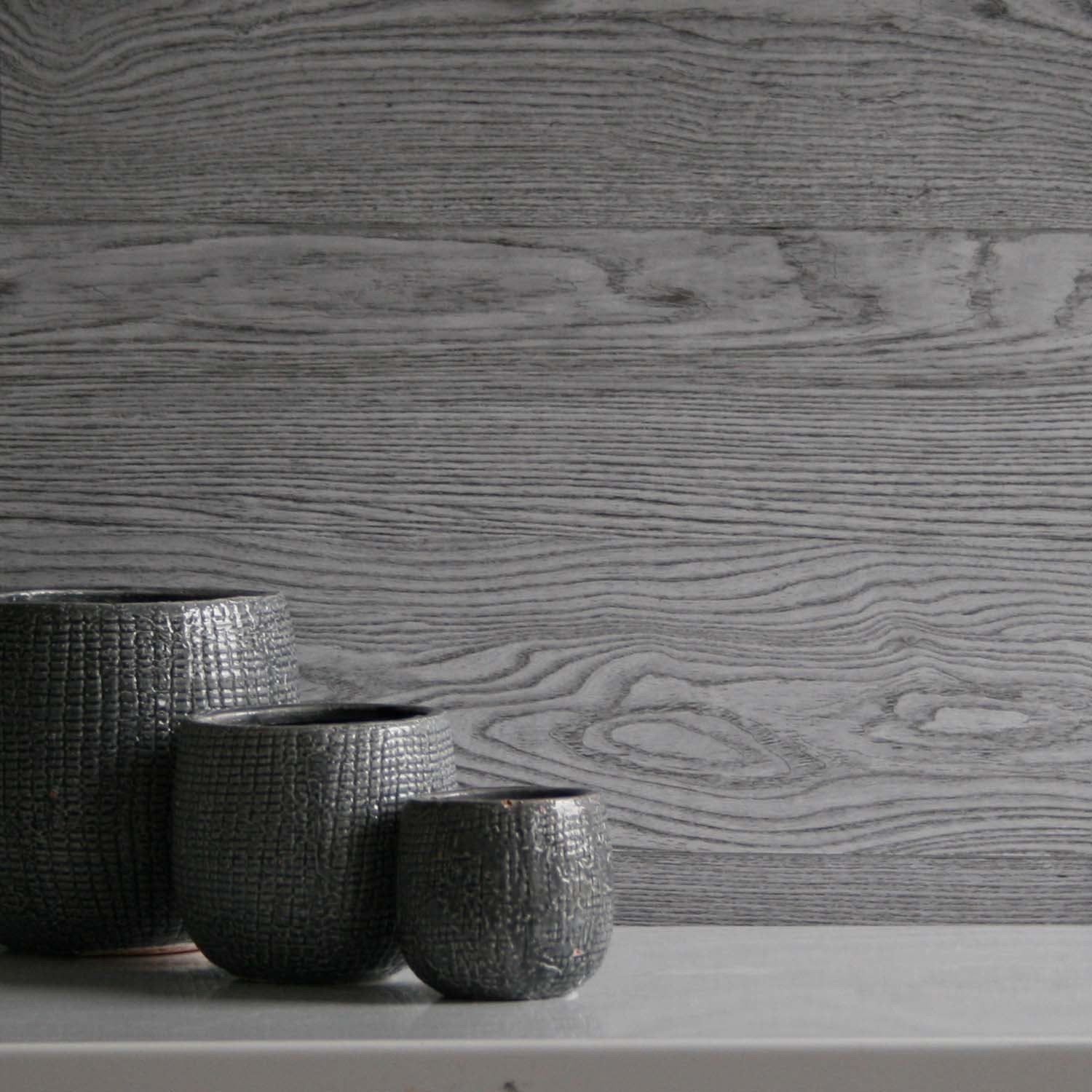 Amazingly Realistic Wide Plank Wood Painted Effect Wallpaper in GreyThis product is so now! It is an amazingly realistic wood effect wallpaper! It can be used throughout the home with dramatic effects. It is a textured wipeable wallpaper which looks fab!h:10m x w:52cm