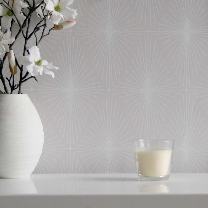 SALE Diamond Star Geometric Hand Painted Effect Wallpaper | Grey & White - Your 4 Walls