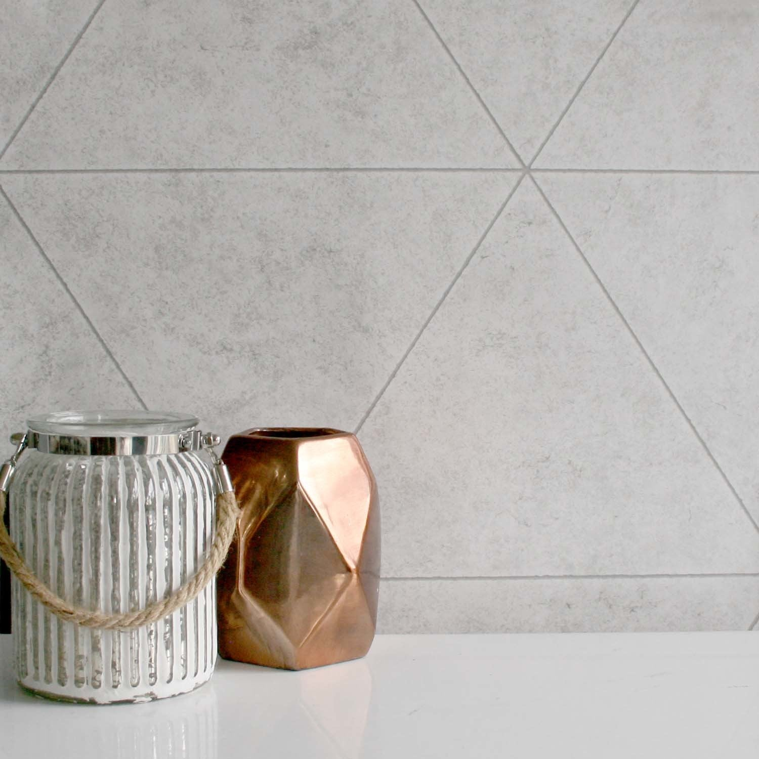 Geometric Triangular Concrete Tile | Light Grey & White