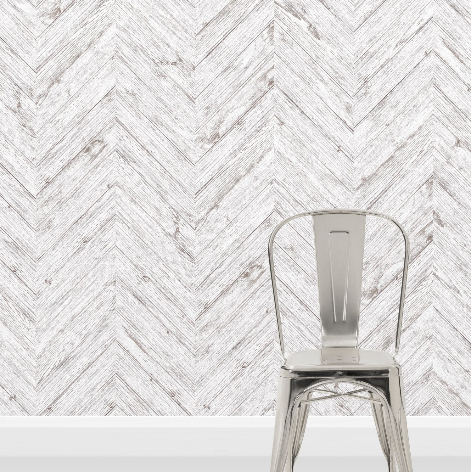Scandi Herringbone White Washed Wood Effect Wallpaper