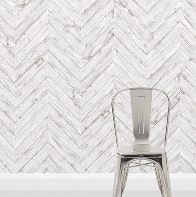Scandi Herringbone White Washed Wood Effect Wallpaper | Off White - Your 4 Walls