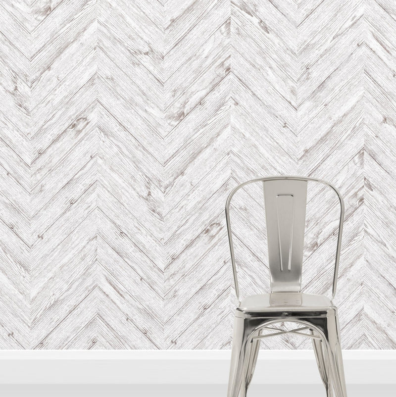 Scandi Herringbone White Washed Wood Effect Wallpaper | Off White