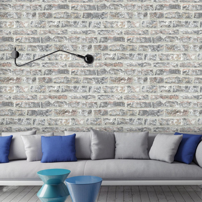 China Clay Reclaimed Brick Effect Wallpaper | Black, Red, Brown & Cream - Your 4 Walls