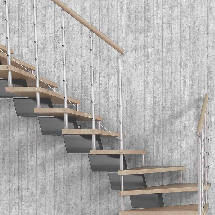 Exclusive 'Armour' Concrete Wood Panel Effect Wallpaper | Grey & White