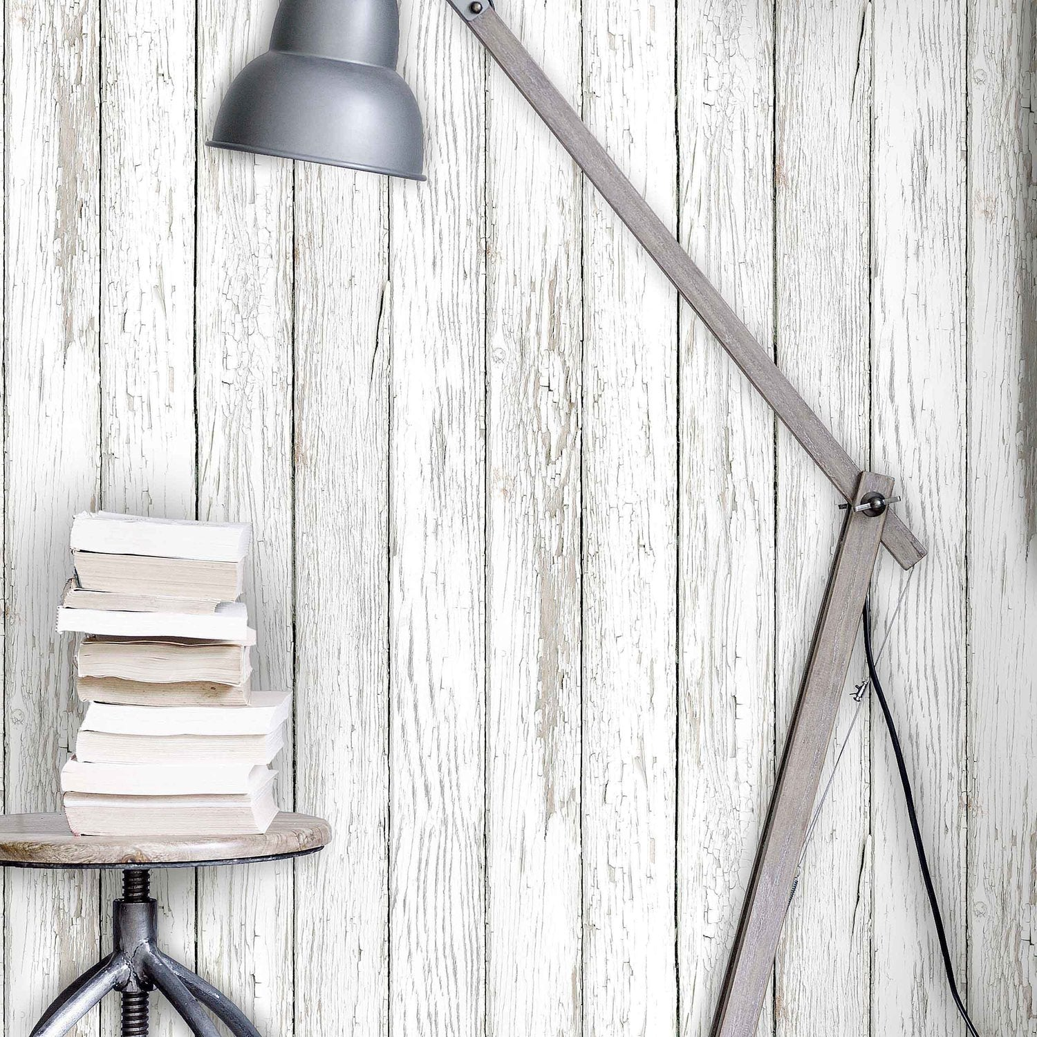 Scandi Peeling Planks White Washed Wood Effect Wallpaper
