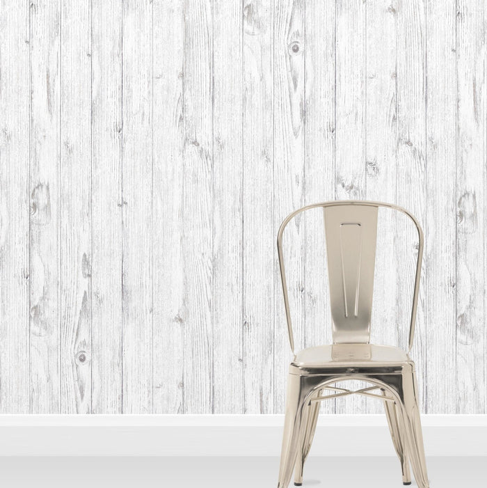 Scandi Planks White Washed Wood Effect Wallpaper | Off White