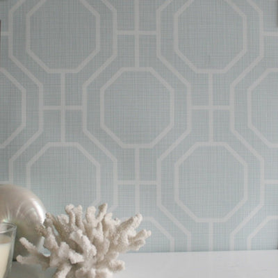 Octagon Contemporary Geometric Wallpaper | Duck Egg Blue & White - Your 4 Walls