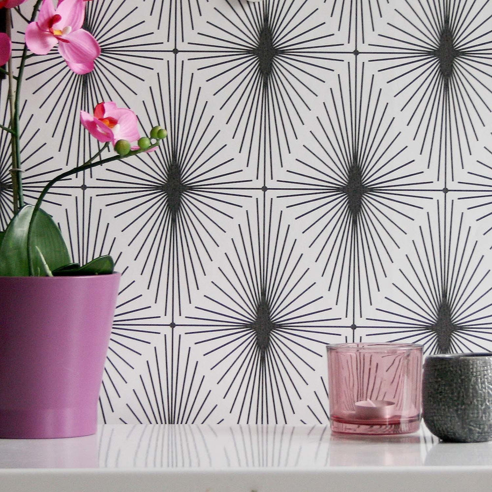 Diamond Star Geometric Wallpaper | Black & White - Your 4 Walls