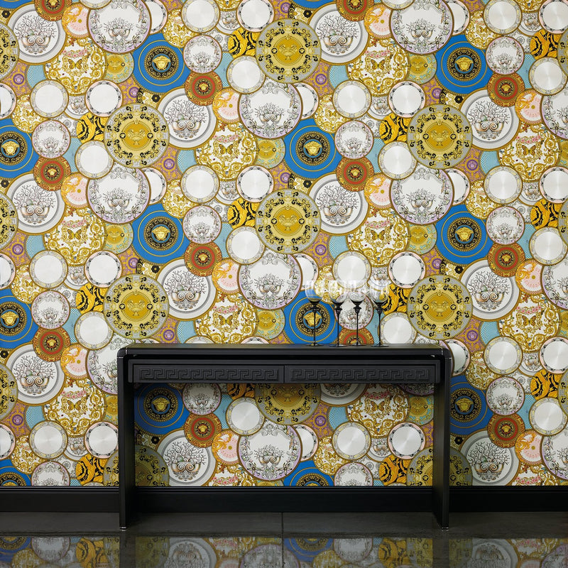 Versace China| Designer Motif Effect Wallpaper in Mixed Colours