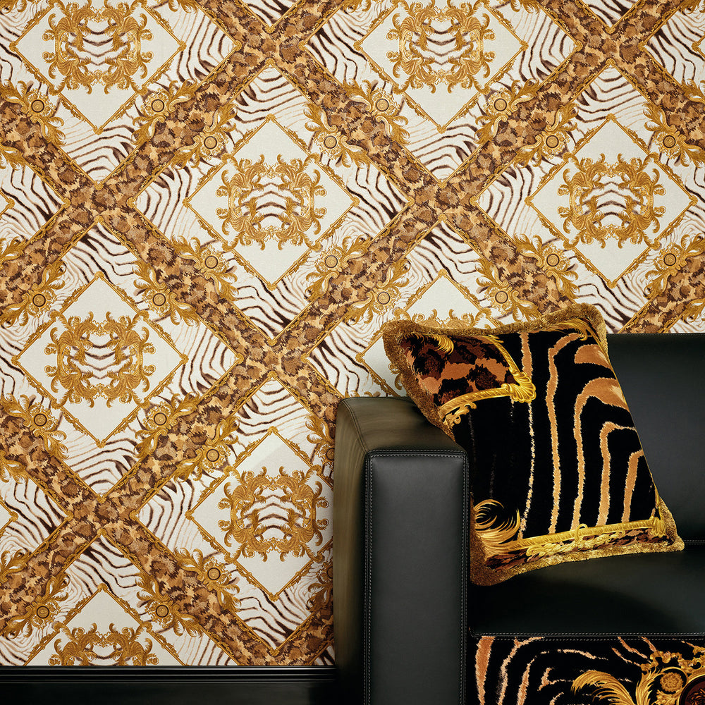 Versace Animal Plaid | Designer Animal Skin Effect Wallpaper in Gold, Orange & White