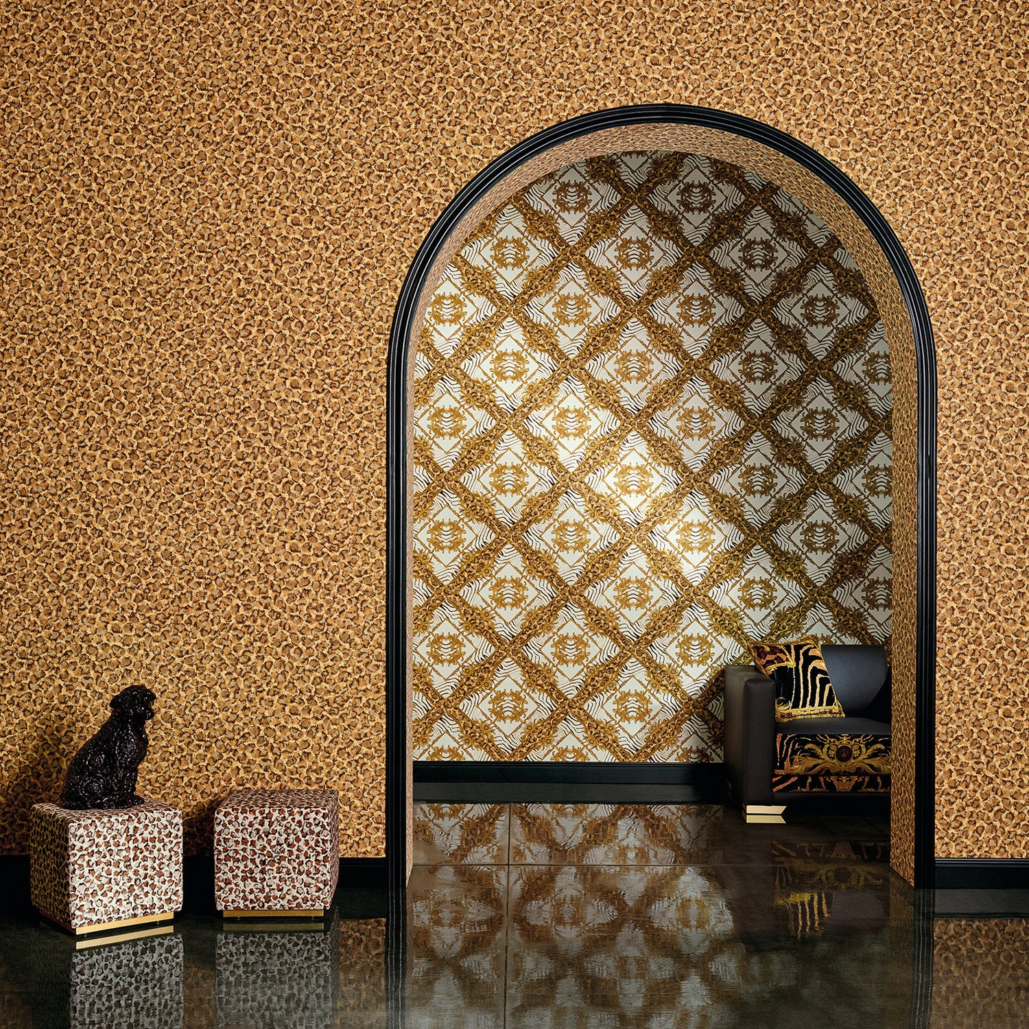 Versace Animal Print |Designer Animal Print Effect Wallpaper in Orange & Brown