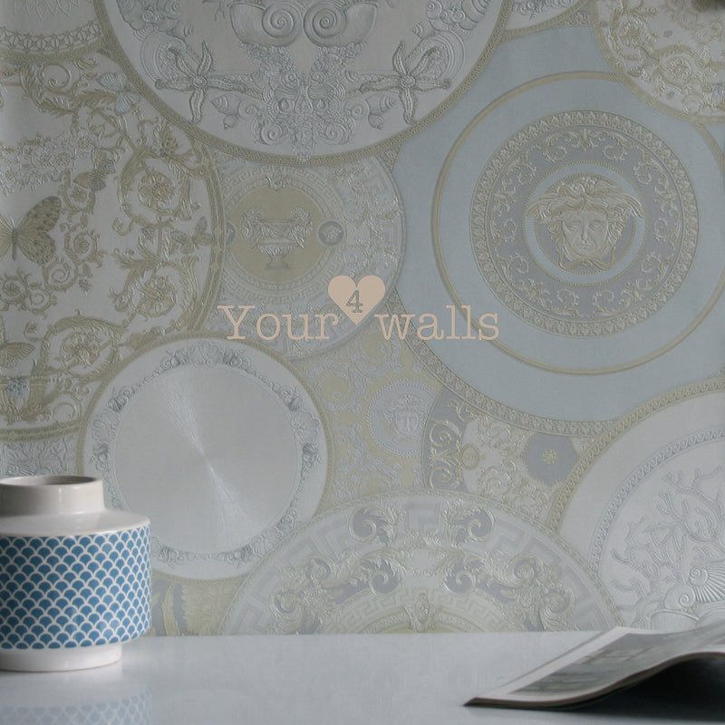 Versace China| Designer Motif Effect Wallpaper in Cream, White & Pale Blue