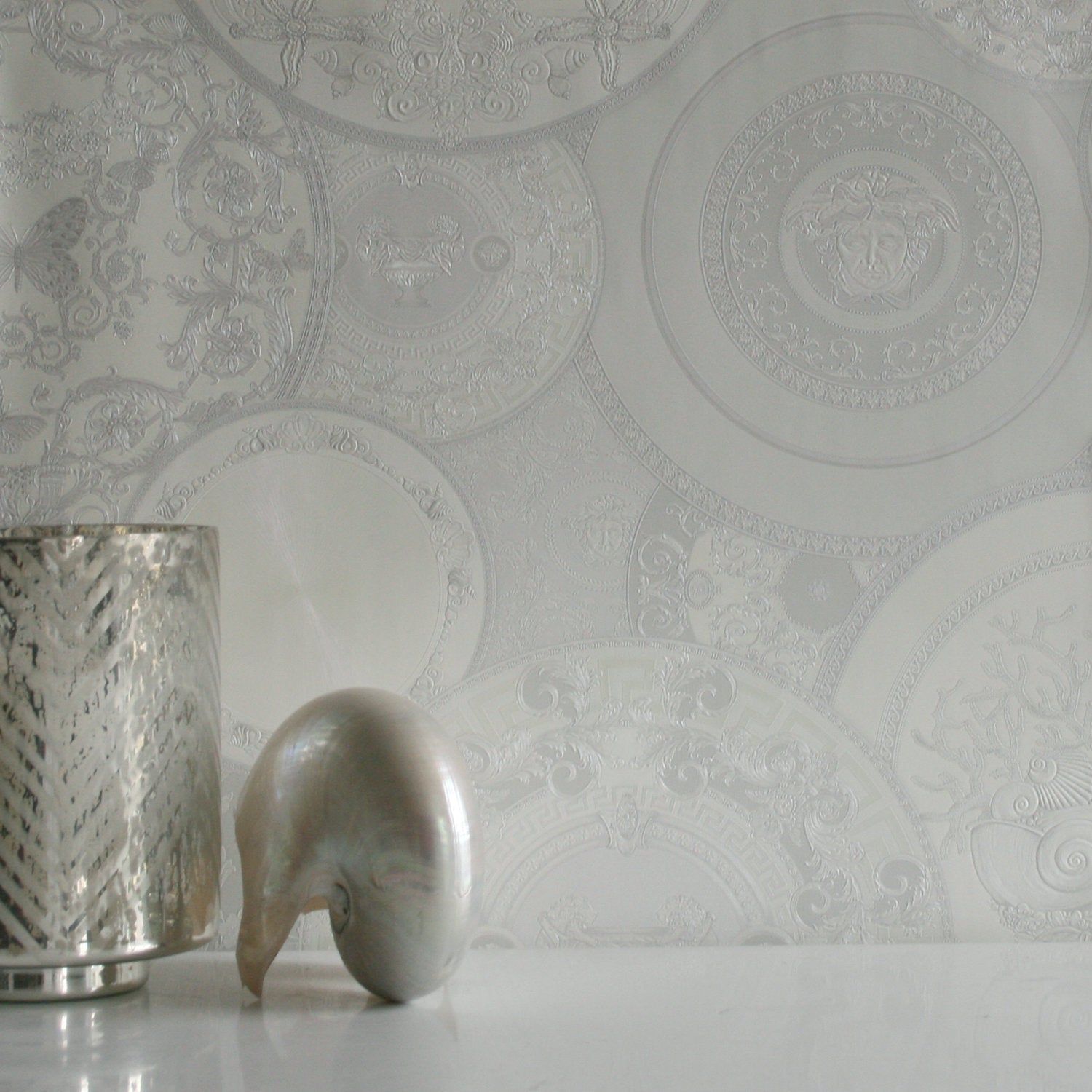 versace china| designer motif effect wallpaper in white & grey with