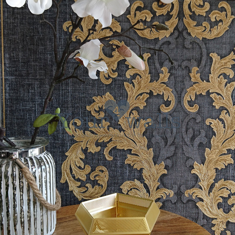 Versace Calligraphy | Designer Floral Trail & Stripe Wallpaper in Charcoal Grey & Gold