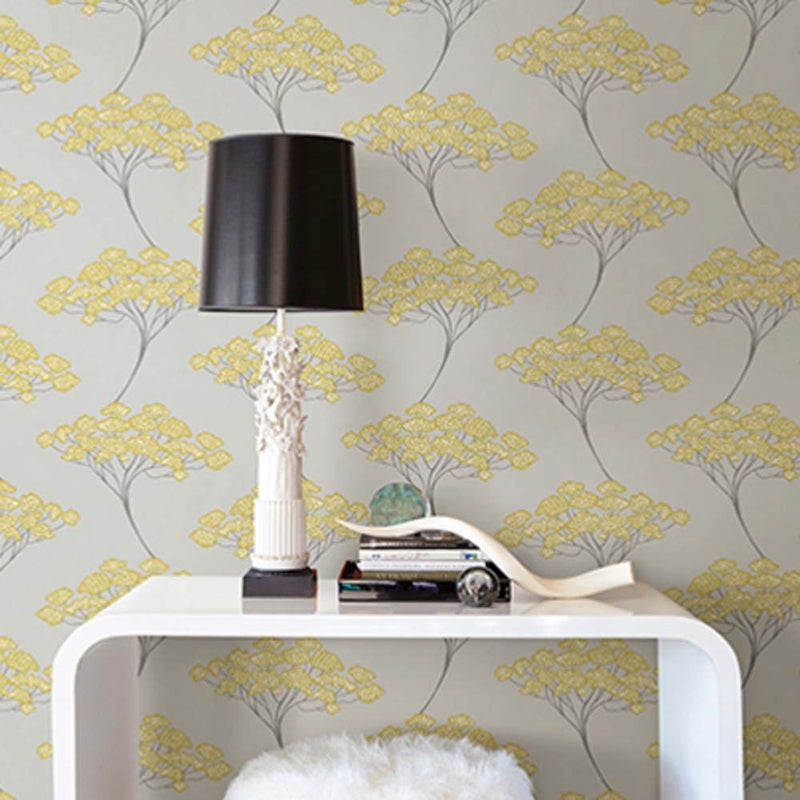 Japanese Blossom Tree| Trail Tree Trail Wallpaper in Grey & Yellow (3 x rolls for 1 set amount) - Your 4 Walls