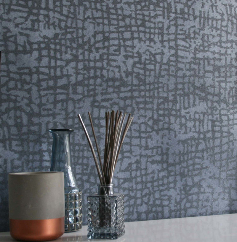 Glass Beaded Weave Geometric Wallpaper | Blue shimmer & Glass Beads - Your 4 Walls