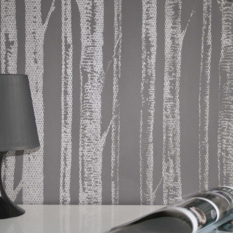 'Woods' Tree Motif Wallpaper in Grey & Metallic White - Your 4 Walls