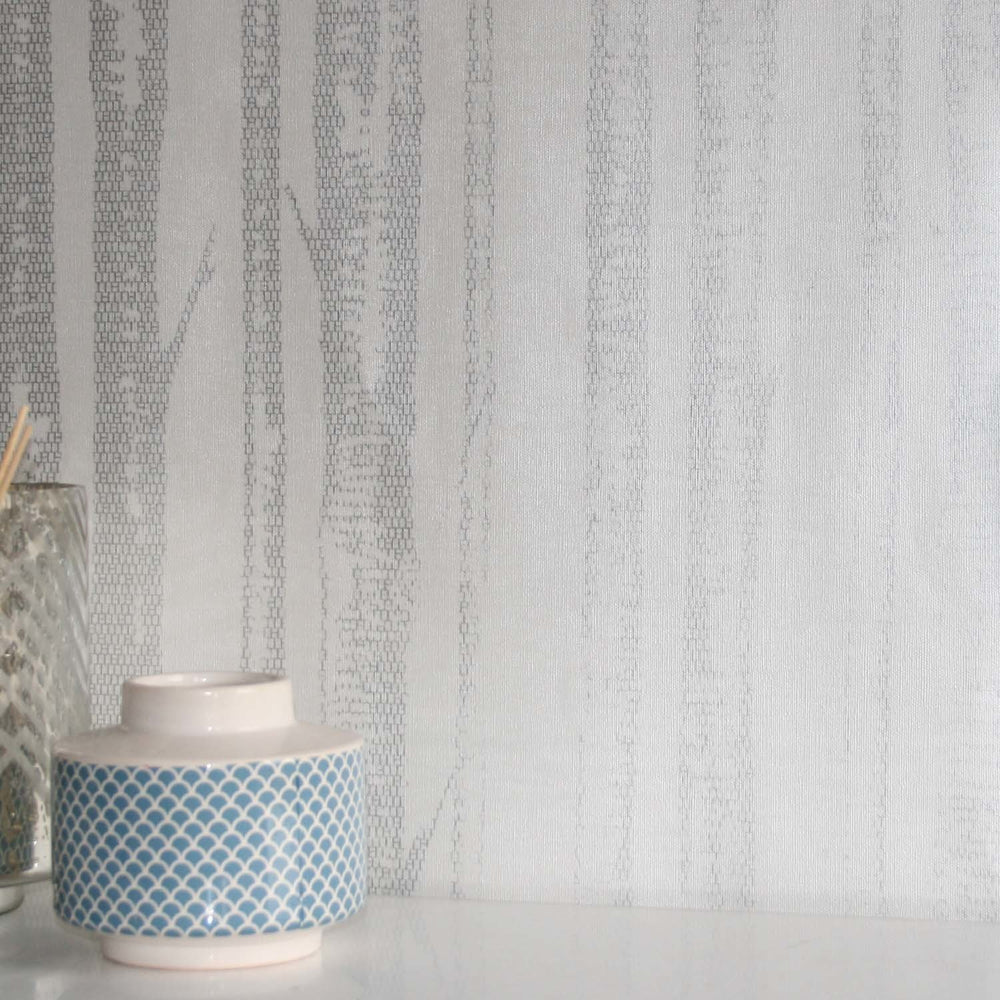 'Woods' Tree Motif  Wallpaper in White & Silver - Your 4 Walls