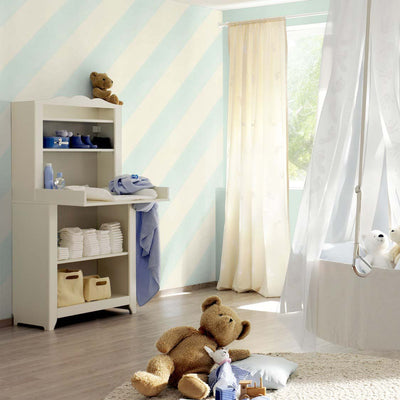 Super Cool Diagonal Wide Stripe Wallpaper | Pastel Blue & White - Your 4 Walls